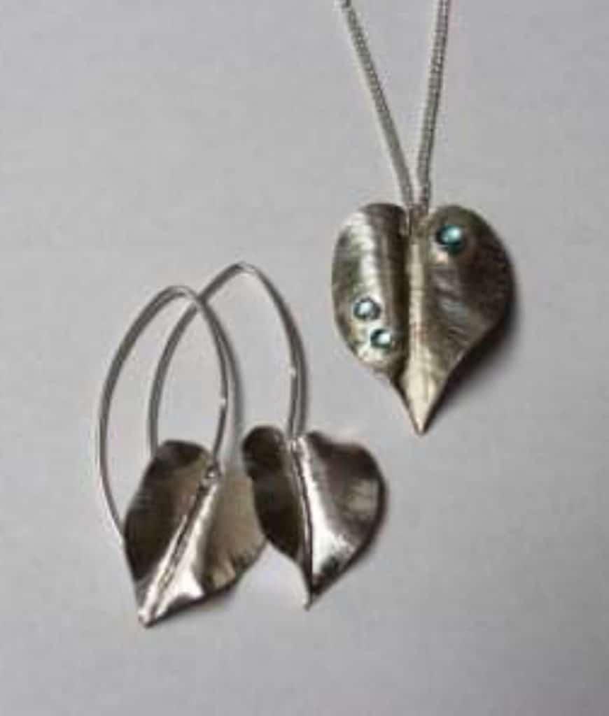 Fold Form Leaf Earrings and Pendant